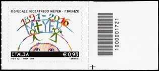 125° Anniversario della inaugurazione dell'Ospedale Pediatrico A. Meyer a Firenze  - francobollo con codice a barre n° 1721