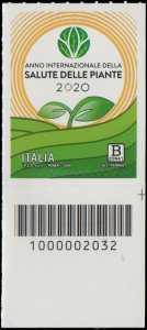 Anno internazionale della Salute delle Piante - francobollo con codice a barre n° 2032 in BASSO a destra