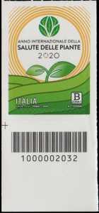 Anno internazionale della Salute delle Piante - francobollo con codice a barre n° 2032 in BASSO a sinistra