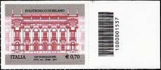 Italia 2013 - 150° Anniversario della fondazione del Politecnico di Milano - codice a barre n° 1537