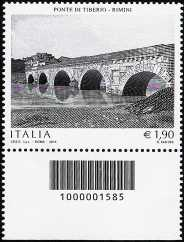 2014 - Patrimonio artistico e culturale italiano : Il Ponte di Tiberio a Rimini - codice a barre n° 1585