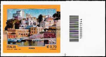 Italia 2013 - Turistica - 40ª serie - Ponza  ( LT ) - codice a barre n° 1544
