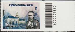 Cinquantenario della morte di Piero Portaluppi - Architetto - francobollo con codice a barre n° 1830 a Destra in alto