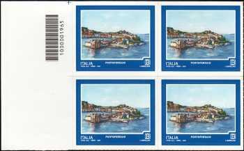 Turistica - 46ª serie  - Patrimonio naturale e paesaggistico : Portoferraio  ( LI ) - quartina con codice a barre n° 1965