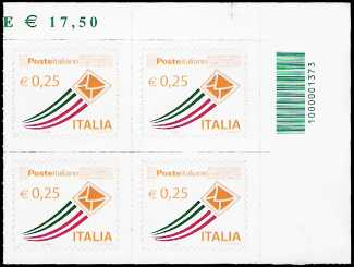 Italia 2013 - «Posta Italiana» - quartina serie ordinaria 0,25 - codice a barre n° 1373