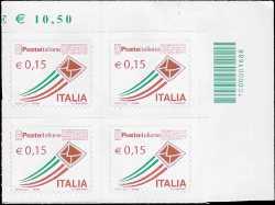 «Posta Italiana» - quartina serie ordinaria 0,15 - codice a barre n° 1688