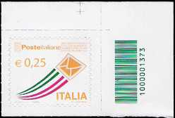 Italia 2013 - «Posta Italiana» - serie ordinaria 0,25 - codice a barre n° 1373