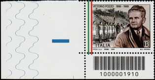Lo Sport - 50° Anniversario della scomparsa di Vittorio Pozzo - francobollo con codice a barre n° 1910  in BASSO a sinistra