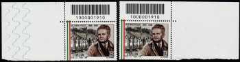 Lo Sport - 50° Anniversario della scomparsa di Vittorio Pozzo - coppia di francobolli con codice a barre n° 1910  in ALTO destra-sinistra