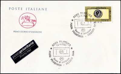 2001 - Posta Prioritaria  1200 / 0,62 - FDC  CAVALLINO - Annullo Roma Filatelico