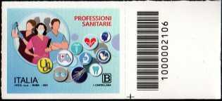 Professioni Sanitarie - francobollo con codice a barre n° 2106 a DESTRA in basso