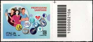Professioni Sanitarie - francobollo con codice a barre n° 2106 a DESTRA in alto