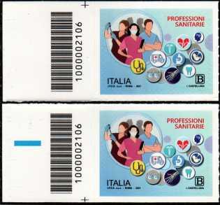 Professioni Sanitarie - coppia di francobolli con codice a barre n° 2106 a SINISTRA alto-basso