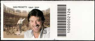 Le Eccellenze italiane dello spettacolo   :  Gigi Proietti - francobollo con codice a barre n° 2126 a DESTRA in basso