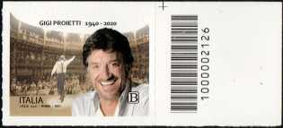 Le Eccellenze italiane dello spettacolo   :  Gigi Proietti - francobollo con codice a barre n° 2126 a DESTRA in alto
