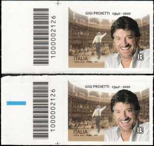 Le Eccellenze italiane dello spettacolo   :  Gigi Proietti - coppia di francobolli con codice a barre n° 2126 a SINISTRA alto basso