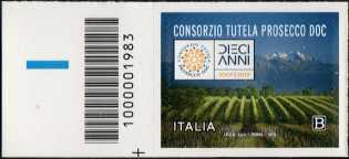 Prosecco - 10° Anniversario del riconoscimento DOC - francobollo con codice a barre n° 1983 a SINISTRA in basso
