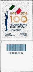 Centenario della fondazione della Federazione Pugilistica Italiana - francobollo con codice a barre n° 1722