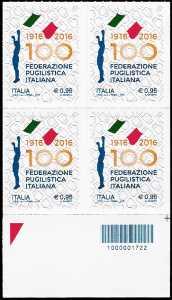 Centenario della fondazione della Federazione Pugilistica Italiana - quartina  con codice a barre n° 1722