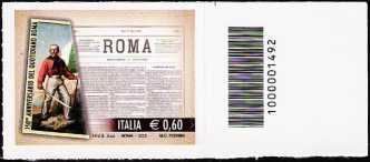 """Italia 2012 - 150° Anniversario della prima pubblicazione del quotidiano """" Roma """" - codice a barre n° 1492"""