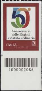 Regioni a Statuto Speciale - 50° Anniversario della istituzione - francobollo con codice a barre n° 2086 in BASSO a sinistra