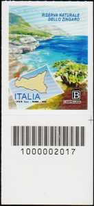 Riserva Naturale dello Zingaro - Sicilia - francobollo con codice a barre n° 2017 in BASSO a destra