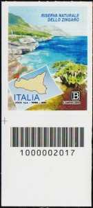 Riserva Naturale dello Zingaro - Sicilia - francobollo con codice a barre n° 2017 in BASSO a sinistra