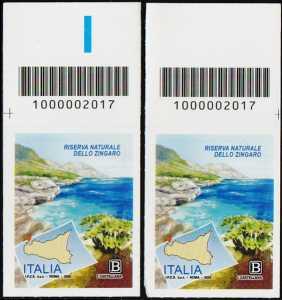 Riserva Naturale dello Zingaro - Sicilia - coppia di francobolli con codice a barre n° 2017 in ALTO destra-sinistra
