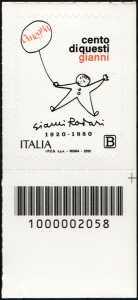 Gianni Rodari - Centenario della nascita - francobollo con codice a barre n° 2058 in BASSO a desta