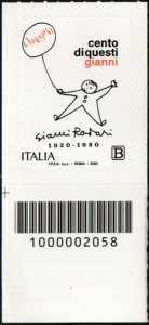 Gianni Rodari - Centenario della nascita - francobollo con codice a barre n° 2058 in BASSO a sinistra