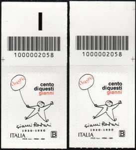 Gianni Rodari - Centenario della nascita - coppia di francobolli con codice a barre n° 2058 in ALTO destra-sinistra