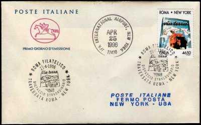 Italia 1996 - Traversata Roma-New York via terra  - busta 1° giorno