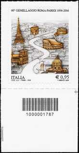 60° Anniversario del gemellaggio Roma-Parigi -  francobollo con codice a barre n° 1787