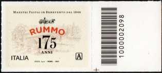 Rummo S.P.A. - 175° Anniversario della fondazione - francobollo con codice a barre n° 2098 a DESTRA in basso