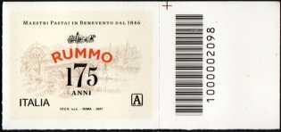 Rummo S.P.A. - 175° Anniversario della fondazione - francobollo con codice a barre n° 2098 a DESTRA in alto