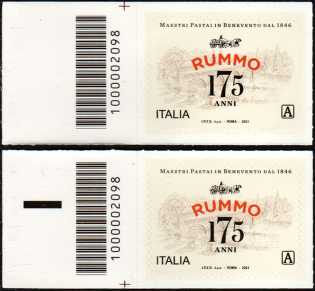 Rummo S.P.A. - 175° Anniversario della fondazione  - coppia di francobolli con codice a barre n° 2098 a SINISTRA alto-basso