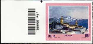 Turistica - 46ª serie  - Patrimonio naturale e paesaggistico : Saluzzo ( CN ) - francobollo con codice a barre n° 1967 a  SINISTRA  in  alto