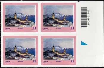 Turistica - 46ª serie  - Patrimonio naturale e paesaggistico : Saluzzo ( CN ) - quartina con codice a barre n° 1967