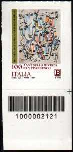 Centenario della pubblicazione della  rivista  'San Francesco Patrono d'Italia'  - francobollo con codice a barre n° 2121 in BASSO a destra