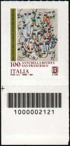 Centenario della pubblicazione della  rivista  'San Francesco Patrono d'Italia'  - francobollo con codice a barre n° 2121 in BASSO a sinistra