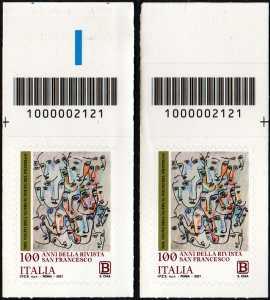 Centenario della pubblicazione della  rivista  'San Francesco Patrono d'Italia'  - coppia di francobolli con codice a barre n° 2121 in ALTO destra-sinistra