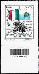 75° Anniversario della convenzione internazionale tra l'Italia e la Repubblica di San Marino - codice a barre n° 1602