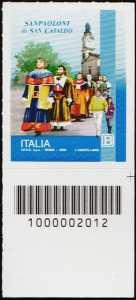 I Sanpaoloni di San Cataldo - francobollo con codice a barre n° 2012 in BASSO a destra