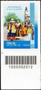 I Sanpaoloni di San Cataldo - francobollo con codice a barre n° 2012 in BASSO a sinistra