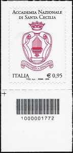 Accademia Nazionale Santa Cecilia - francobollo con codice a barre n° 1772
