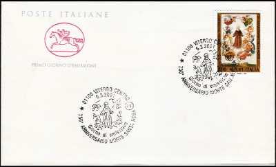 2001 - 750º anniversario della morte di santa Rosa da Viterbo - FDC  CAVALLINO - Annullo ufficio postale Viterbo
