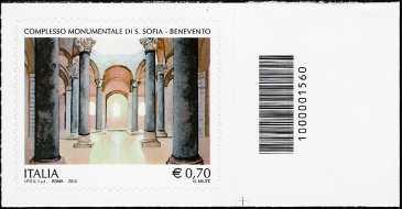 2013 - Patrimonio artistico e culturale italiano : Complesso monumentale di Santa Sofia in Benevento - codice a barre n° 1560