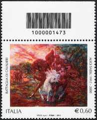 Italia 2012 - Centenario della nascita di Aligi Sassu - codice a barre  n°  1473