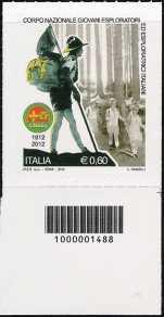 Italia 2012 - Corpo Nazionale Giovani Esploratori ed Esploratrici  - codice a barre n° 1488