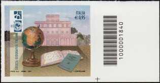 150° Anniversario della Società Geografica Italiana - francobollo con codice a barre n° 1840